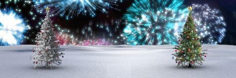 Christmas trees in winter landscape with fireworks. Digital composite of Christmas trees in winter landscape with fireworks Stock Photo
