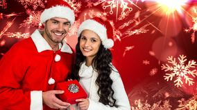 Christmas Winter couple with snowflakes and gift stock footage