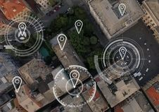 City aerial view with marker location pointers. Digital composite of City aerial view with marker location pointers Stock Image