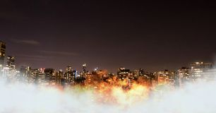 City with burning fire. Digital composite of City with burning fire stock illustration