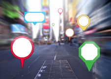City with colorful marker location pointers. Digital composite of City with colorful marker location pointers Royalty Free Stock Photos