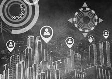 City with icons of people marker location pointers and interface. Digital composite of City with icons of people marker location pointers and interface Stock Photo