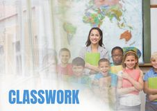 Classwork text and Elementary school teacher with class Royalty Free Stock Photography