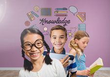 Clever kids with blank room background with knowledge graphics. Digital composite of Clever kids with blank room background with knowledge graphics Stock Photos