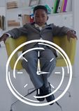 Clock icon against office kid boy sitting background Royalty Free Stock Photography