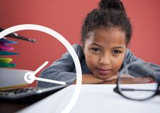 Clock icon against office kid girl resting on the table background Royalty Free Stock Photos