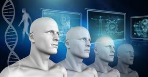 Clone 3D men with genetic DNA. Digital composite of Clone 3D men with genetic DNA Stock Photography