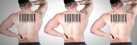 Clone men in row with barcodes on backs. Digital composite of Clone man in row with barcodes on backs royalty free stock image
