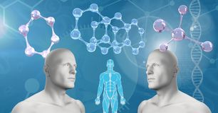Clone twin 3D men with genetic DNA stock illustration