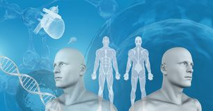 Clone twin 3D men with genetic DNA. Digital composite of Clone twin 3D men with genetic DNA Royalty Free Stock Photos