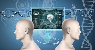 Clone twin 3D men with genetic DNA. Digital composite of Clone twin 3D men with genetic DNA Stock Image