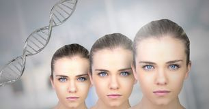 Clone women with genetic DNA. Digital composite of Clone woman with genetic DNA royalty free stock photos