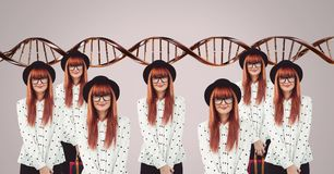 Clone women with genetic DNA. Digital composite of Clone woman with genetic DNA stock photos