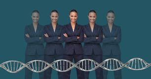 Clone women with genetic DNA. Digital composite of Clone woman with genetic DNA stock image
