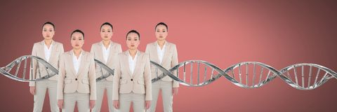Clone women with genetic DNA. Digital composite of Clone woman with genetic DNA royalty free stock image