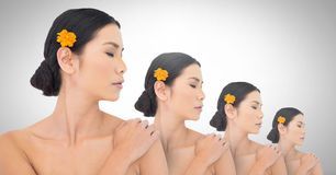 Clone women in row. Digital composite of Clone woman in row Royalty Free Stock Image
