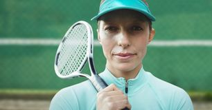 Close-up of serious Female Tennis Player royalty free stock photo