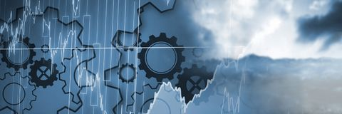 Clouds with cogs transition Stock Photo