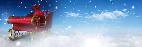 Cloudy sky transition of Santa`s sleigh. Digital composite of Cloudy sky transition of Santa`s sleigh Stock Photography