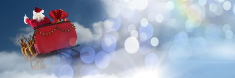 Cloudy sky transition of Santa`s sleigh and reindeer`s Royalty Free Stock Photography