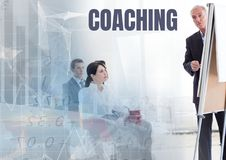 Coaching text and Business economics teacher with class. Digital composite of Coaching text and Business economics teacher with class royalty free stock images