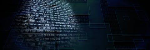 Code binary interface and dark background. Digital composite of Code binary interface and dark background royalty free stock photo