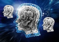 Cog heads floating in universe. Digital composite of Cog heads floating in universe Royalty Free Stock Photos