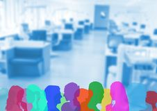Color silhouette of people in the office. Digital composite of color silhouette of people in the office Stock Image