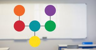 Colorful mind map over classroom  background Royalty Free Stock Images