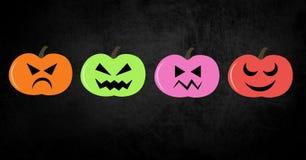 Colorful pumpkins halloween illustrations Stock Photography