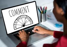Comment text and ratings graphic on laptop screen with womans hands. Digital composite of Comment text and ratings graphic on laptop screen with womans hands royalty free stock photos
