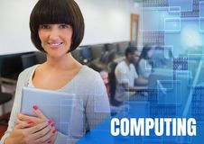 Computing text and University teacher with class in computer room Royalty Free Stock Photos