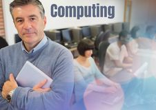 Computing text and University teacher with class. Digital composite of Computing text and University teacher with class Royalty Free Stock Images