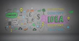 Concept ideas graphics over dark background. Digital composite of concept ideas graphics over dark background Stock Photo