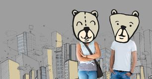 Couple with bear animal head faces in city. Digital composite of Couple with bear animal head faces in city royalty free stock photo