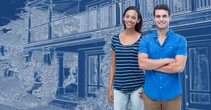 Couple in front of house drawing sketch. Digital composite of Couple in front of house drawing sketch royalty free stock photography