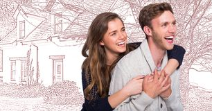 Couple in front of house drawing sketch. Digital composite of Couple in front of house drawing sketch royalty free stock images