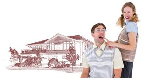 Couple in front of house drawing sketch. Digital composite of Couple in front of house drawing sketch stock photography