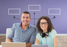 Couple at laptop with mind map royalty free stock photo