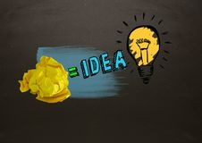 Crumpled paper equals idea light bulb with blackboard royalty free stock images