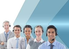 Customer care service people with blue background Royalty Free Stock Photos