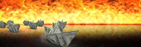3d boats escaping fire. Digital composite of 3d boats escaping fire Stock Photo
