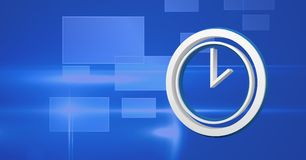3D clock time icon with blue background. Digital composite of 3D clock time icon with blue background Royalty Free Stock Image