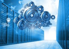 3D cog gears cloud with servers in background Stock Image