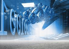 3D cog gears cloud with servers and binary in background. Digital composite of 3D cog gears cloud with servers and binary in background Royalty Free Stock Photos