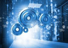 3D cog gears with servers in background Royalty Free Stock Photos