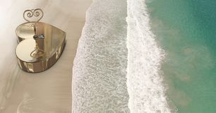 3D Heart key box on beach Stock Photo