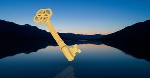 3d key against beautiful evening scenery with lake and mountains. Digital composite of 3d key against beautiful evening scenery with lake and mountains Royalty Free Stock Photo