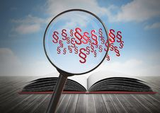 3D Magnifying glass over book with section symbol icons. Digital composite of 3D Magnifying glass over book with section symbol icons Royalty Free Stock Photos