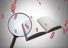 3D Magnifying glass over book with section symbol icons. Digital composite of 3D Magnifying glass over book with section symbol icons Stock Image